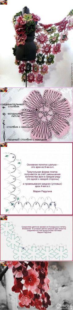 Шикарная шаль «Цветы» (Вязание крючком)   Журнал Вдохновение Рукодельницы