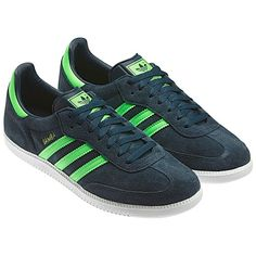 Debuting as a soccer trainer, the Samba quickly gained ground as a street shoe and is now more popular than ever. These men's adidas Originals Samba shoes feature the famous all-suede upper in '90s-inspired neon colors and serrated 3-Stripes.