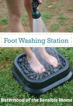 Clean off dirty summer feet with this simple DIY foot washing station. Perfect for post-pool summer days. http://www.sisterhoodofthesensiblemoms.com/2013/06/ghetto-chic-swimming-pool-design/?utm_content=buffer88951&utm_medium=social&utm_source=pinterest.com&utm_campaign=buffer#_a5y_p=1910320
