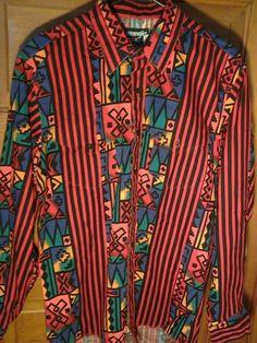 Vintage Wrangler Aztec Tribal Rockabilly Cowboy Southwestern Shirt L/S SZ L XLT #Wrangler #Western
