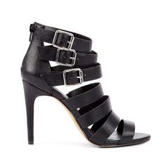 Strappy Black Buckle Heel.