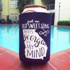 Georgia on my Mind Koozie by ThePinkHousePress on Etsy, $5.00  Good idea for wedding coozies!!