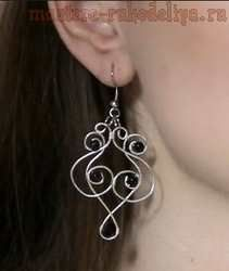 Master class on jewelry wire: Earrings in technology Wire wrap art - Russian video
