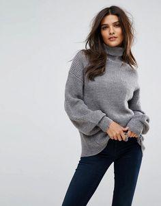 Vero Moda Knitted Roll Neck Sweater - Gray