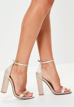 Missguided - Nude Satin Block Heel Barely There Sandals