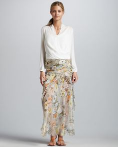Shirred Silk Maxi Skirt