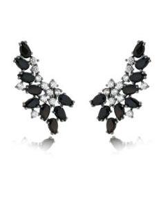 brinco earcuff da moda com zirconias cristais e negras e banho de rodio semi joias online