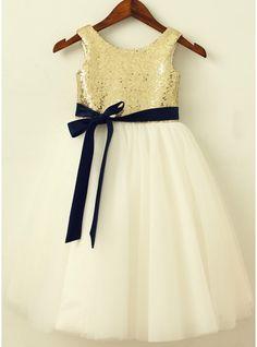 A-Line/Princess Knee-length Flower Girl Dress - Sequined Sleeveless Scoop Neck With Sash (010089130) - JJsHouse