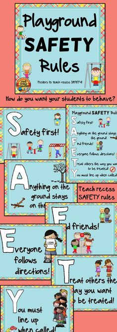 Playground and recess SAFETY posters are a classroom management tool meant to teach students proper behavior on the playground. The SAFETY posters give teachers an opportunity to educate their class on how to behave at recess. Each of the posters contains a tip starting with a letter from the word SAFETY. This is a great product to use at the beginning of the year but can be started at any time. Fabulous teaching tool!  $