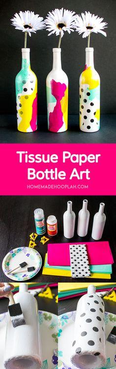 Tissue Paper Bottle Art