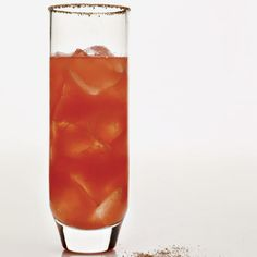 "In-Sandíary - This cocktail's name is a play on both the Spanish word for watermelon, sandía, and ""incendiary,"" referring to the peppery tequila and the spicy ancho chile rim."