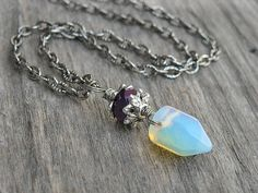 Moonstone Crystal Point Necklace by InkandRoses13