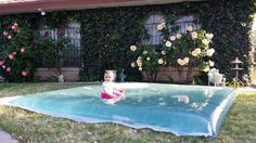 DIY Completely leak-proof water blob - using $12 worth of supplies. A 10′x25′ painting drop cloth, parchment paper, an iron, and a bit of duct tape. Follow these easy steps and your kids will be having the time of their lives this summer: