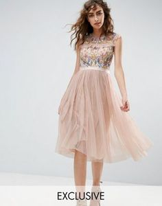 Needle and Thread Floral Embroidery Midi Skater Dress