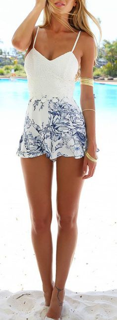 Women's Spaghetti Strap Sleeveless Backless Lace Floral Print Romper