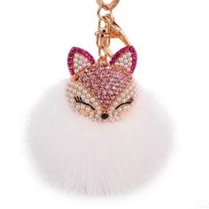 White/Pink Fox PomPom/Fur Ball Keychain/Bag Charm This Gorgeous PomPom will give a fantastic look to your bag or keys. Burberry Handbags, Prada Handbags, Pink Fox, Delicate Rings, Key Pendant, Chain Pendants, Gifts For Women, Jewelry Sets, Fox Head