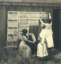 Women posting signs to promote woman suffrage, Seattle, 1910  Courtesy UW Special Collections (Neg. A. Curtis 19943)