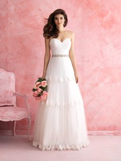 Classic Formal Hip Modern Modest Romantic Ivory Silver White $$ - $701 to $1500 A-line Allure Romance Chiffon Floor Lace Natural Sleeveless Strapless Sweetheart Tulle Wedding Dresses Photos & Pictures - WeddingWire.com