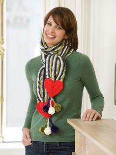 Bufanda de rayas y corazones Instrucción a Gancho --Haz esta bufanda para alguien que ames como un regalo para el Día de San Valentín… o para ese alguien que desees que sienta que es especial.