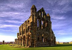 Whitby Abbey is a ruined Benedictine abbey overlooking the North Sea on the East Cliff above Whitby in North Yorkshire, England.