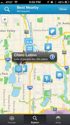 Foursquare's map-centric explore UI.
