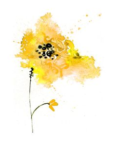 Watercolor flower print yellow painting wall decor by ZarStudio, $20.00