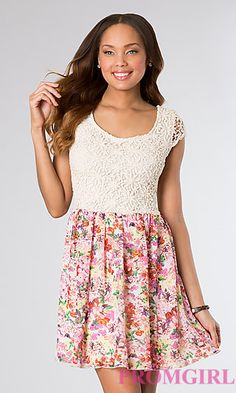 Short Print Casual Dress with Lace Bodice at PromGirl.com