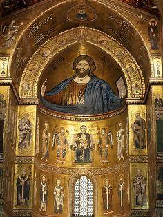 Monreale Cathedral, near Palermo, SICALY |  Byzantine Choir Mosaics Christ Pantocrator Virgo and Saints