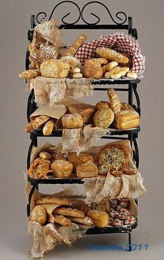 1:12th scale miniature baker's rack and an assortment of handmade breads by 'linsminis' (aka Linda Cummings) via Flickr
