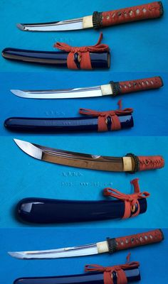 """Japanese short sword, """"Tanto"""". Nice curve in that blade. It also appears to be thin enough to make a good boning knife."""