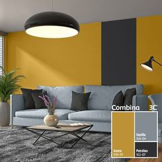 The dark grey stripe down the wall contrasts with the yellow walls surrounding i