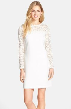 Laundry by Shelli Segal Lace & Texture Crepe Dress | Nordstrom
