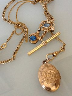Antique Victorian Blue Glass Pendant with by DayOldToyStore
