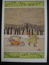 UNUSED 1980 vintage greeting card Mary Engelbreit Christmas Through The Woods