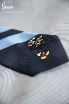 We love this Hidden Mickey on the bottom of the groom's tie! #Disney #cufflinks #blue