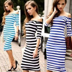 New Arrival Women's Fashion Half Sleeve Striped Casual Dress Lady Brief Dresses