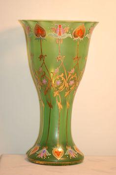 Antique Glassware   1890 Fritz Heckert Bohemian Glass Uranium Vase Moser era from ...