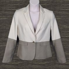 Banana Republic Color Block Blazer Stylish color block blazer in attractive alabaster white and taupe colors. Single button close, vented back, fully lined. 67% cotton blend. Banana Republic Jackets & Coats Blazers