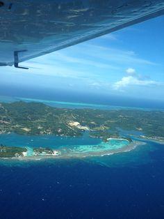 Flight from Roatan, Honduras (MHRO) to Guatemala (MGGT)  Roatan island north shore views.