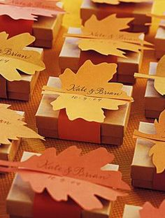 Chocolate Box  Simple and seasonal-- fill brown candy boxes with chocolate and add a DIY tag with your personalized wedding details.