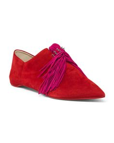 Made+In+Italy+Pointy+Toe+Suede+Flats