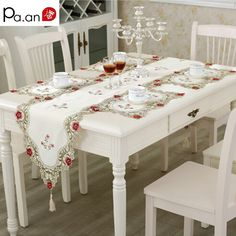 Pastoral Table Runner Embroidered Flower Leaves Hollow Polyester Table Covers Dustproof Table Decor for Home Party. Click visit to buy #TableRunner