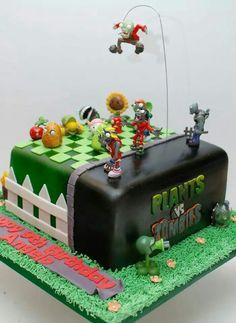 Zombie Birthday Parties, Zombie Party, Boy Birthday, Birthday Ideas, Plants Vs Zombies, Plant Zombie, Plant Vs Zombie Cake, Plantas Versus Zombies, Cakes For Boys