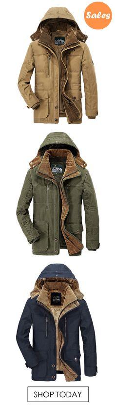 Mens Thick Fleece Winter Coat Hooded Outdoor Solid Color Jacket. #coats #jackets