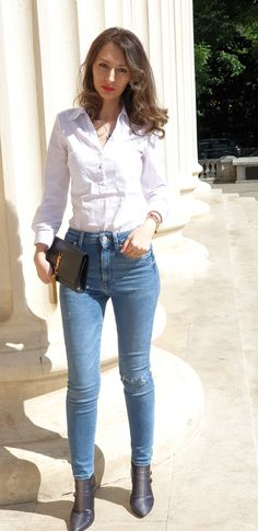 Skinny Jeans – Mon Amour - Stiletto and Red Lips All Fashion, Denim Fashion, Dressy Pants, T Dress, Fashion Essentials, Elegant Outfit, Skinny Legs, Dress To Impress, Articles