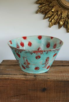 Large Ceramic Gypsy Queen Serving Bowl from HappyClay on Etsy
