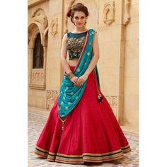 Red & Turquoise Bangalore Silk Embroidered Lehenga