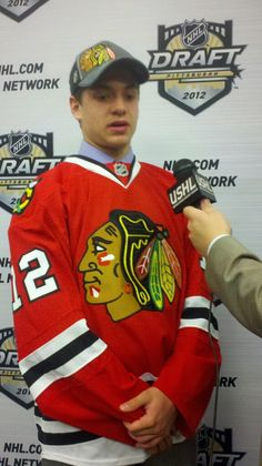 Vinny Hinostroza of the Waterloo Black Hawks was selected by the @Chicago Blackhawks in the 2012 #NHLDraft (Twitter images by USHL)