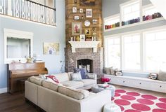 Nie Nie Dialogues Stephanie Nielson home tour - Wood cladding over fireplace and books on window ledge