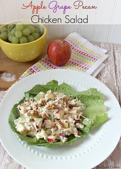 HEALTHY Apple Grape Pecan Chicken Salad #recipe #lunch #chickensalad